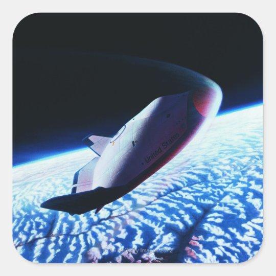 Space Shuttle 3 Square Sticker