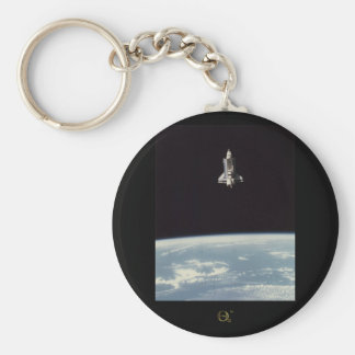 Space Shuttle Above Earth Basic Round Button Keychain