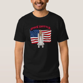 Space Shuttle and Flag T-shirt