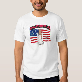 Space Shuttle and Flag T Shirt