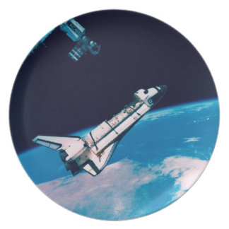 Space Shuttle and Station in Orbit Dinner Plate