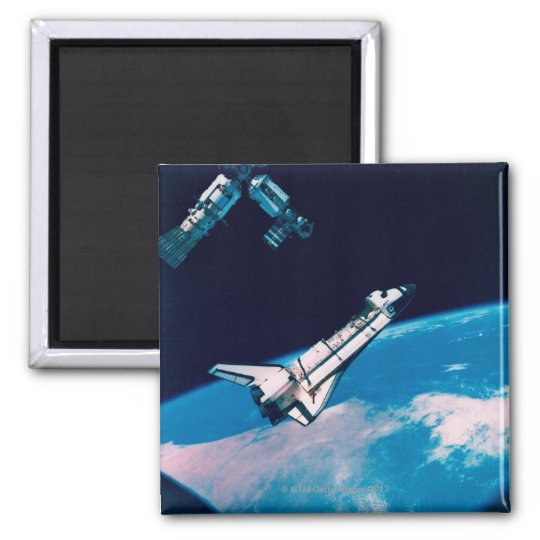 Space Shuttle and Station in Orbit Magnet