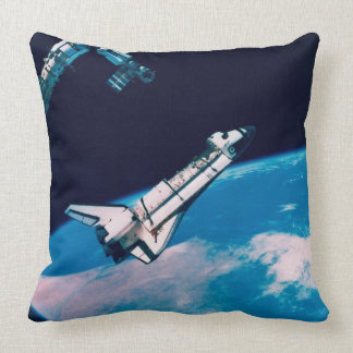 Space Shuttle and Station in Orbit Throw Pillow