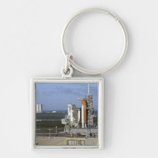 Space shuttle Atlantis 3 Silver-Colored Square Keychain