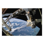 Space Shuttle Atlantis and a Soyuz spacecraft Photo Print