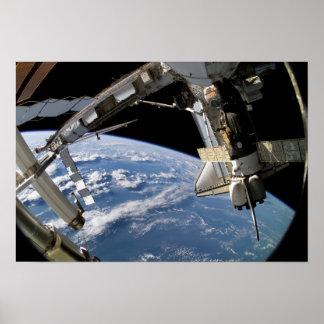 Space Shuttle Atlantis and a Soyuz spacecraft Print