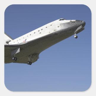 Space shuttle Atlantis approaching Runway 33 2 Square Sticker
