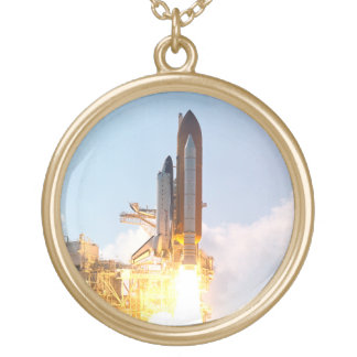 Space Shuttle Atlantis Blasts Off Gold Plated Necklace