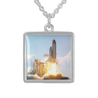 Space Shuttle Atlantis Blasts Off Sterling Silver Necklace