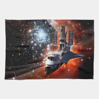 Space Shuttle Atlantis Hubble Telescope Artwork Hand Towel