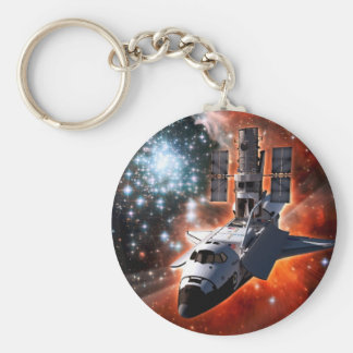 Space Shuttle Atlantis Hubble Telescope Artwork Keychain