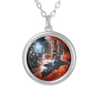 Space Shuttle Atlantis Hubble Telescope Artwork Silver Plated Necklace