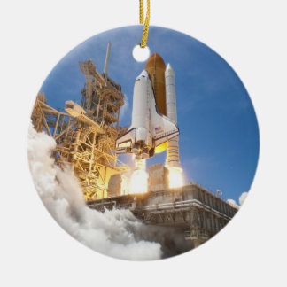 Space Shuttle Atlantis Launching STS-132 Mission Double-Sided Ceramic Round Christmas Ornament