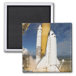 Space Shuttle Atlantis lifts off 12 2 Inch Square Magnet
