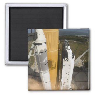 Space Shuttle Atlantis lifts off 17 2 Inch Square Magnet