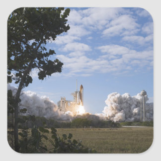 Space Shuttle Atlantis lifts off 18 Square Sticker