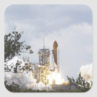 Space Shuttle Atlantis lifts off 3 Square Sticker