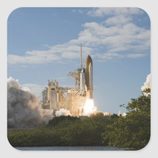 Space Shuttle Atlantis lifts off 7 Square Sticker