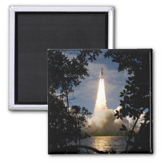 Space Shuttle Atlantis lifts off 9 2 Inch Square Magnet