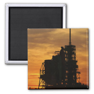 Space Shuttle Atlantis on the launch pad 2 Inch Square Magnet