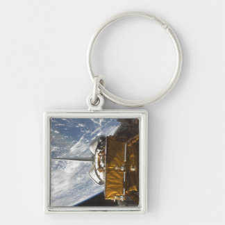 Space Shuttle Atlantis' payload bay backdropped Silver-Colored Square Keychain
