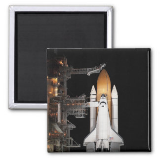 Space shuttle Atlantis sits ready 2 Inch Square Magnet