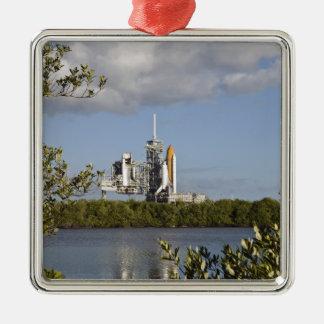 Space Shuttle Atlantis sits ready Square Metal Christmas Ornament