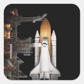Space shuttle Atlantis sits ready Square Sticker