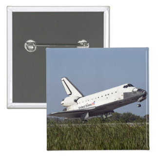 Space shuttle Atlantis touches down on Runway 3 2 Inch Square Button