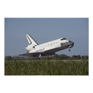 Space shuttle Atlantis touches down on Runway 3 Print