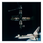 Space Shuttle Atlantis with MIR Poster