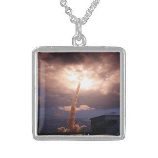 Space Shuttle Challenger Launch Sterling Silver Necklace