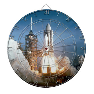 Space Shuttle Columbia Blasts Off Dart Board