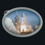 """Space Shuttle Columbia Blasts Off Oval Belt Buckle<br><div class=""""desc"""">Welcome to SPACE HQ! We are open and our showroom is out of this world. Do a favor for your family and friends and give them our link: http://www.zazzle.com/SpaceHQ?rf=238549869542096443*</div>"""