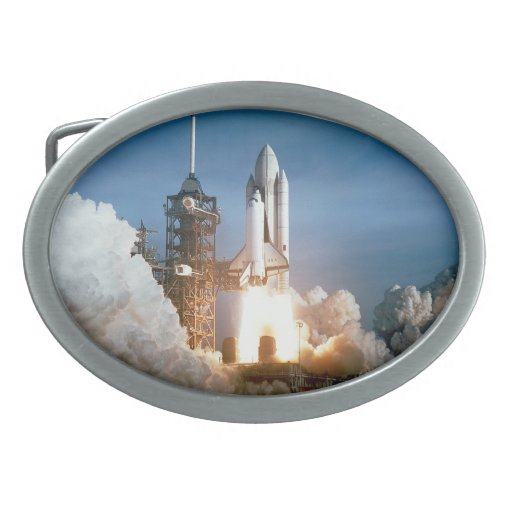 Space Shuttle Columbia Blasts Off Oval Belt Buckle