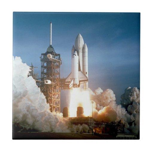 Space Shuttle Columbia Launching Ceramic Tiles