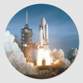 Space Shuttle Columbia Launching Classic Round Sticker