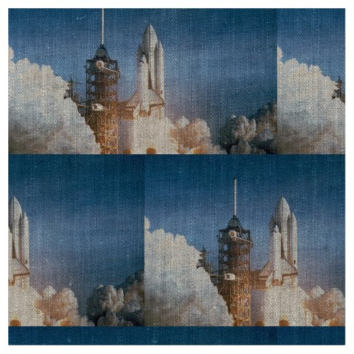 Space shuttle columbia launching fabric zazzle for Space shuttle quilt