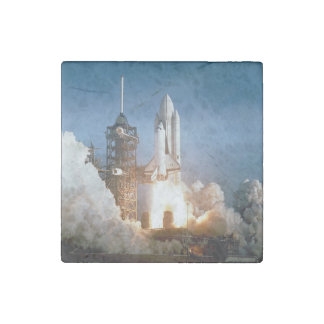 Space Shuttle Columbia launching Stone Magnet