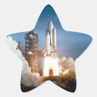 Space Shuttle Columbia Launching Star Sticker
