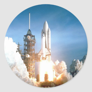 Space Shuttle Columbia launching to success goal Classic Round Sticker