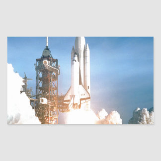 Space Shuttle Columbia launching to success goal Rectangular Sticker