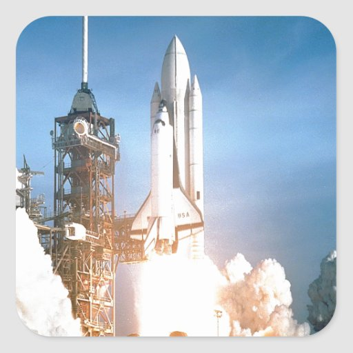 Space Shuttle Columbia launching to success goal Square Sticker
