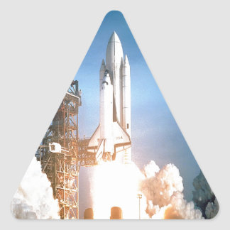 Space Shuttle Columbia launching to success goal Triangle Sticker