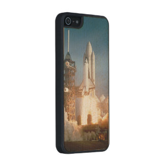 Space Shuttle Columbia launching Wood Phone Case For iPhone SE/5/5s