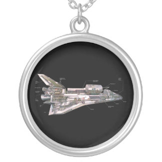Space Shuttle Cutaway Silver Plated Necklace