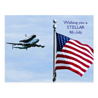 Space Shuttle discovery 4th July Postcard