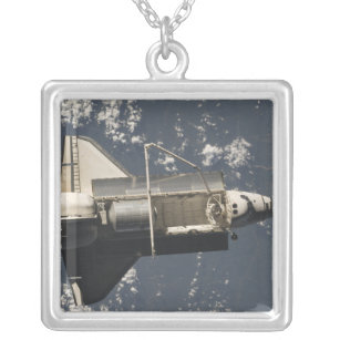 Space Shuttle Discovery 5 Silver Plated Necklace