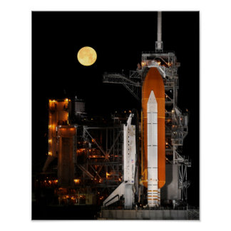 Space Shuttle Discovery and Moon Poster