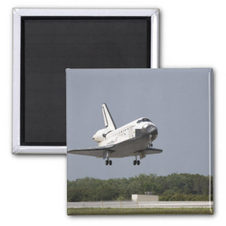 Space Shuttle Discovery approaches landing 2 2 Inch Square Magnet